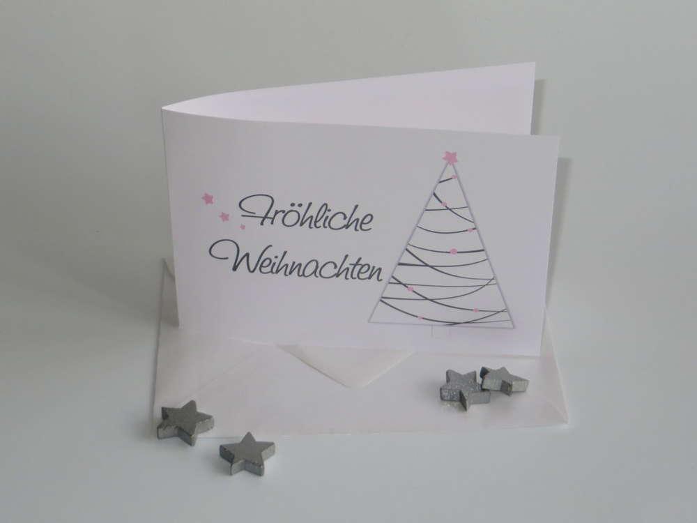 Rosa Weihnachtsbaum.Weihnachtskarte Weihnachtsbaum Rosa